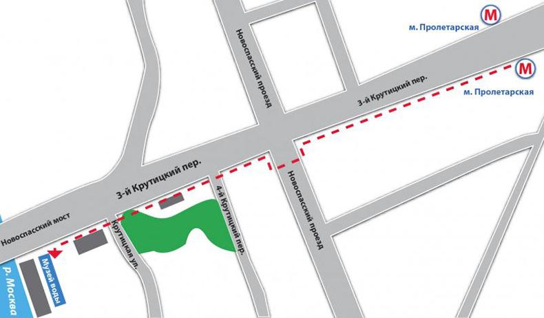 Схема пути к музею Воды от метро