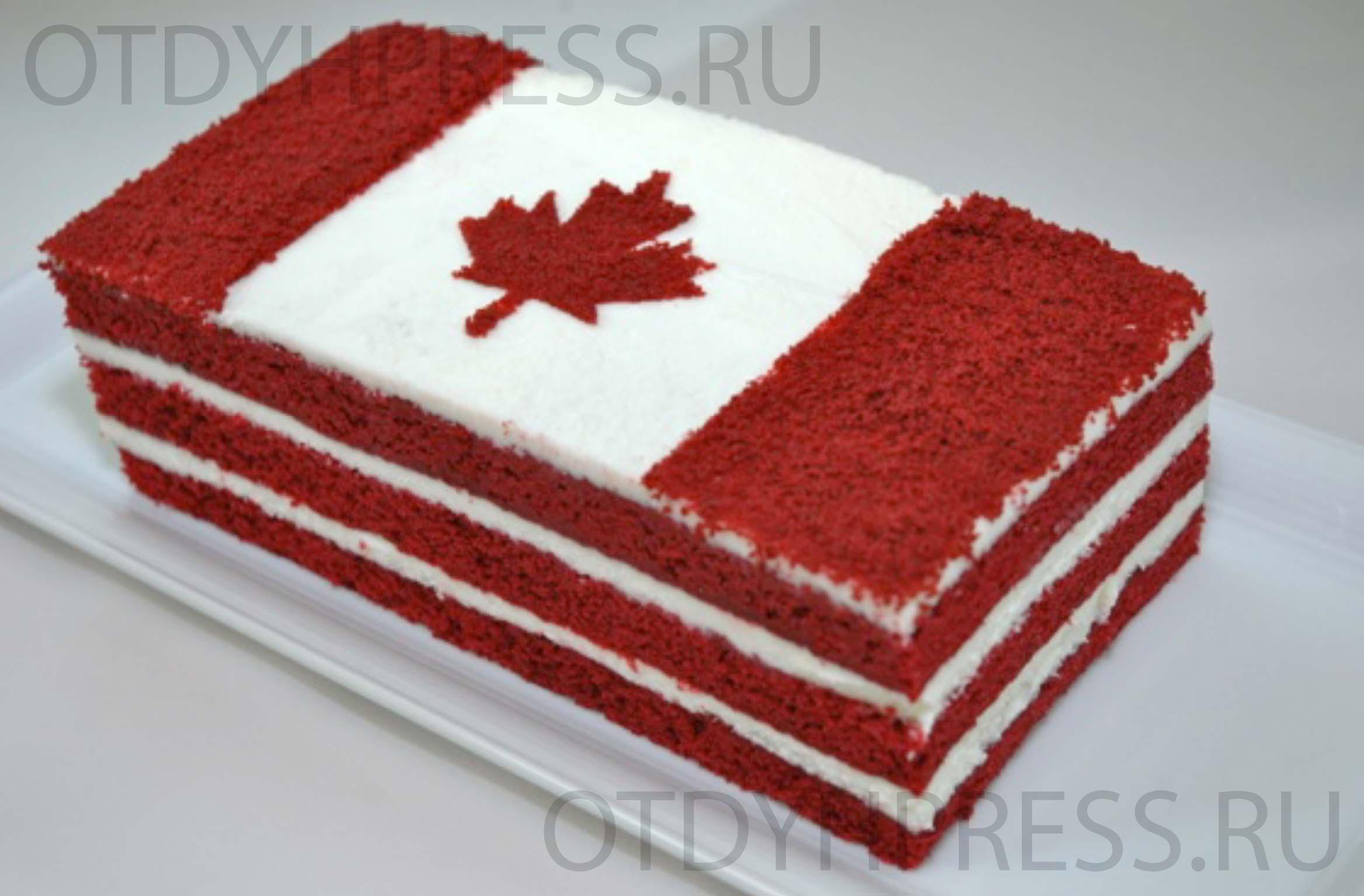Торт с флагом Канады
