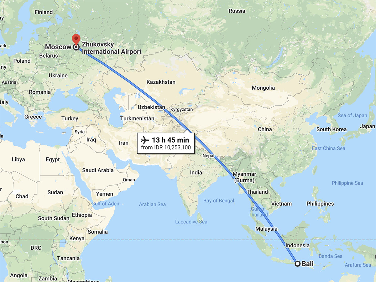 Перелет Москва – Бали