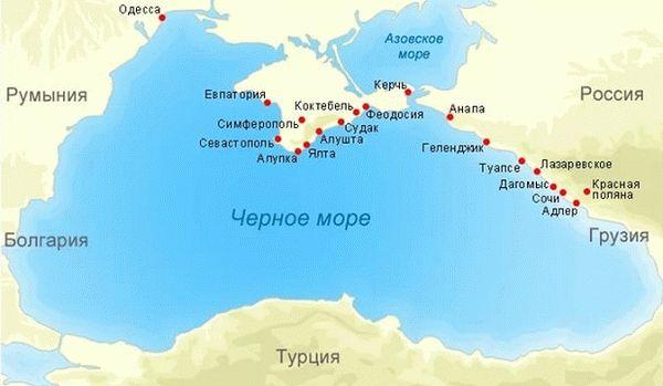 Карта Черного моря, где находится Черное море на карте мира